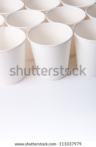 Empty paper cups with copy space