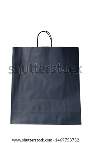 empty paper gray bag from Kraft paper, mocap, isolate, on a white background, the concept of waste-free production, ecology