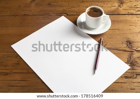 empty paper on wood background with turkish coffee
