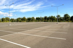 empty parking and blue sky