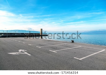 Empty parking area with sea landscape #171456314