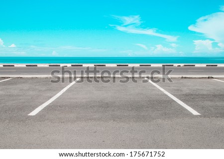 Empty parking area with sea landscape #175671752