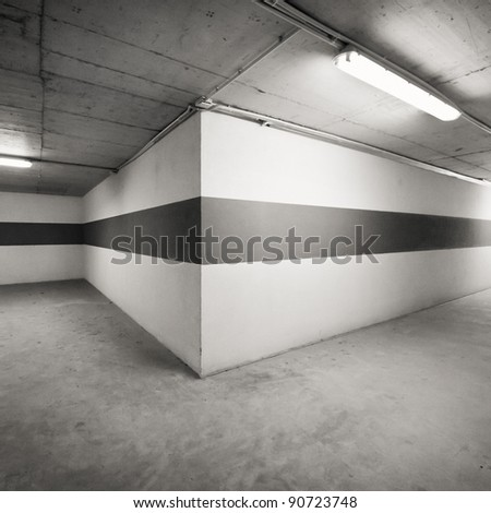 Empty parking lot area wall - stock photo