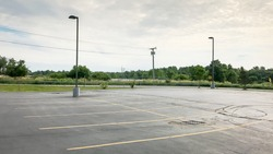 Empty Parking Lot Area / With Copy Space
