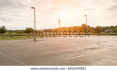 Empty Parking Lot Area / With Copy Space #682649881