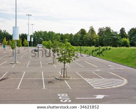empty parking lot near the supermarket