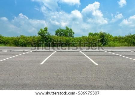 Empty parking lot on blue sky background Stockfoto ©