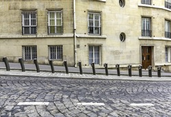 Empty parking of bicycles for rent in Paris, France