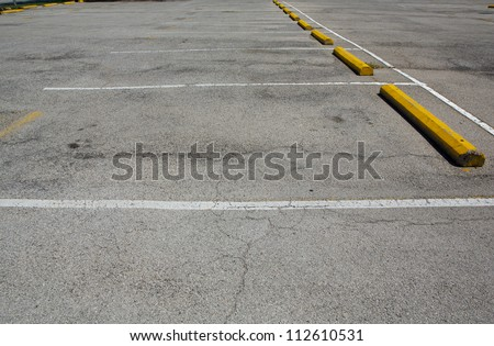 Empty Parking Spaces with room for copy - stock photo