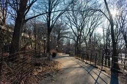 Empty Path at Riverside Park in Morningside Heights of New York City