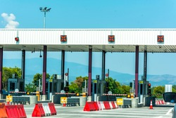 Empty pay toll check point - Toll booths at highway