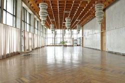 Empty philharmonic hall used for arts exhibitions