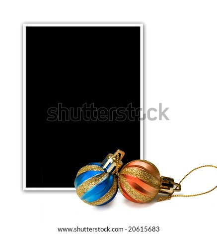 Empty photo and new year`s decorations.Clipping path included.