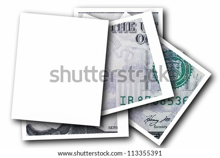 Empty photo frame and dollar bill  isolated on white background