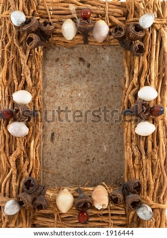 Empty photo frame, clear frame, wood, on white, portrait orientation. Natural frame.