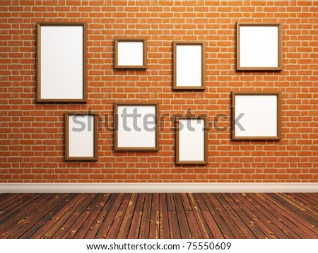 Empty photo frames on brick wall. 3d Illustration.