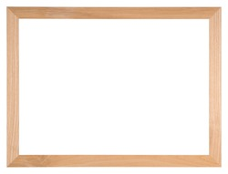 Empty picture frame isolated on white, landscape format, in light oak wood