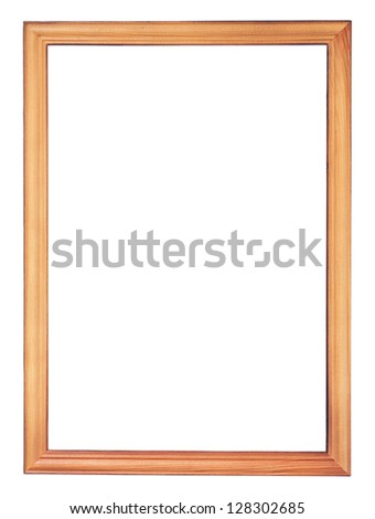 Empty picture frame, wood finish.