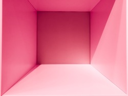Empty pink gradient room space, interior for design and decoration - abstract background. square box with blank inner space. Empty room interior perspective view. Photobox inside.