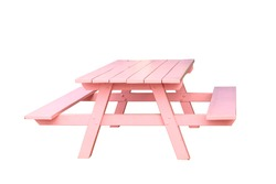Empty pink picnic Standard table with benches on either side of the table isolated on white background. This has clipping path.