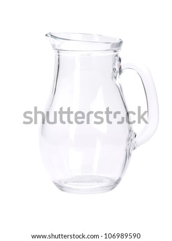 Empty pitcher for juice or milk on white background