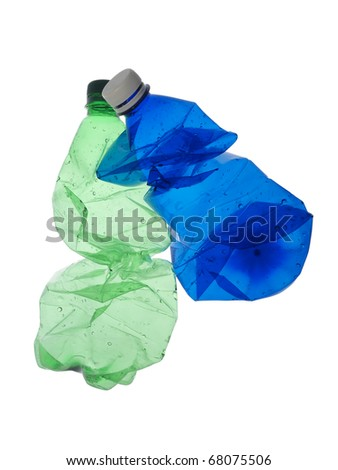 empty plastic bottles on a white background