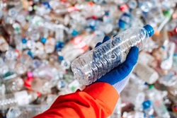 Empty plastic bottles That is sorted, ready to be recycled