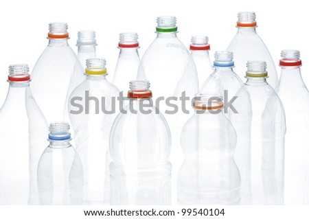 Empty plastic drinking bottles ready for recycling.
