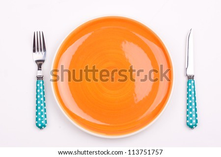 empty plate and fork,knife