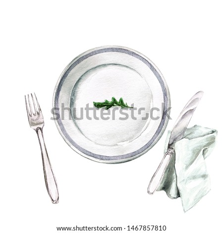 Empty Plate. Arugula leaf. Watercolor Illustration