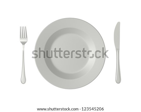 Empty plate, fork and knife, top view, isolated on white background.