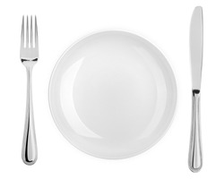 Empty plate, fork, knife, clipping path, cutlery isolated on white background, clipping path, top view
