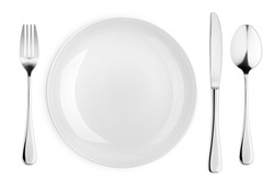 Empty plate, fork, knife, spoon, cutlery isolated on white background, clipping path, top view