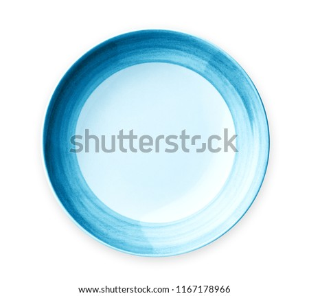Empty plate with blue pattern edge, Ceramic plate with spiral pattern in watercolor styles, View from above isolated on white background with clipping path                            ストックフォト ©