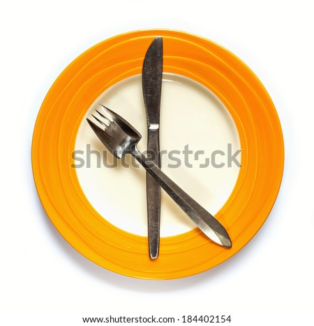 Empty Plate with fork and knife on white background #184402154
