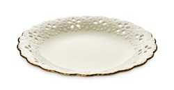 Empty plate with golden pattern edge, White round plate features a beautiful gold rim with floral pattern,   isolated on white background with clipping path, Side view