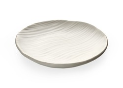 Empty plate with wavy pattern, White plate with wave texture isolated on white background with clipping path, Side view