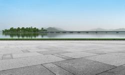 Empty Plaza Floor Bricks and Beautiful Natural Landscape