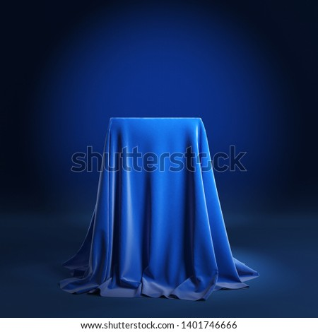 Empty podium covered with blue cloth. 3d illustration Stockfoto ©