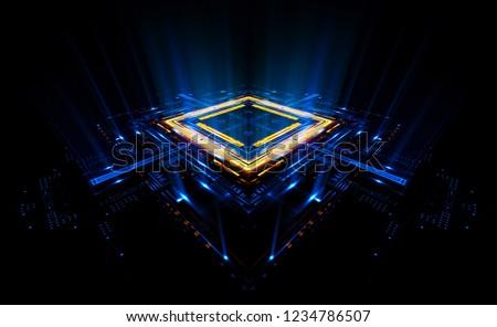 Empty podium. Disco panel. Rays view. Show magic party. Sports style.  Bright space. Stand square. Vivid stage. Exhibition space. Core. Demo place. 3d render. Glint check scene. Glare bright blocks.
