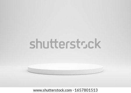 Empty podium or pedestal display on white background with cylinder stand concept. Blank product shelf standing backdrop. 3D rendering. Zdjęcia stock ©