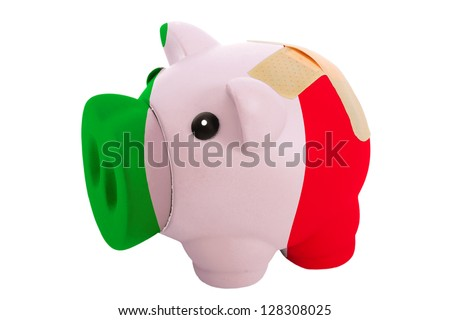 empty poor man piggy rich bank in colors national flag of italy on white