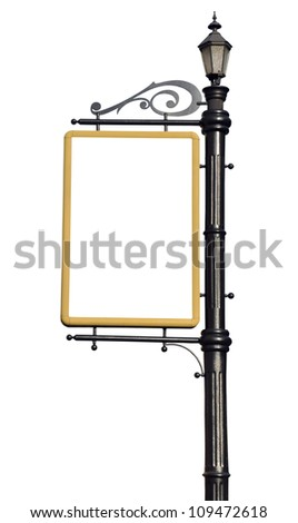Empty post for the outdoor advertising