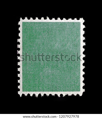 Empty postage stamp with green plaid texture. #1207927978