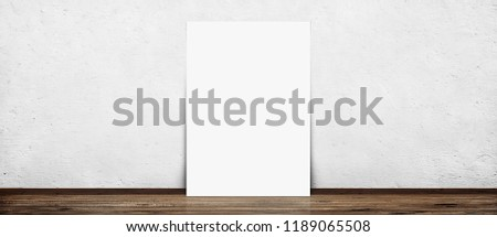 Empty poster (210*297) in old interior with concrete wall and wood floor
