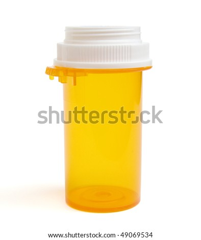 Empty prescription pill bottle. - stock photo
