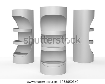 Empty Product Display, Stand Or Shelf. 3D rendering