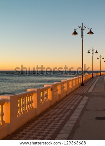 Empty promenade on Malaga beach in Spain