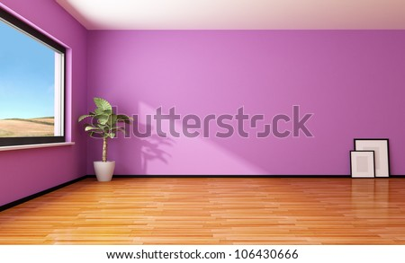 empty purple interior with plant and frame - rendering