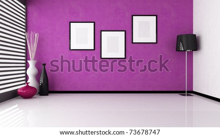 empty purple interior with vase and floor lamp - rendering